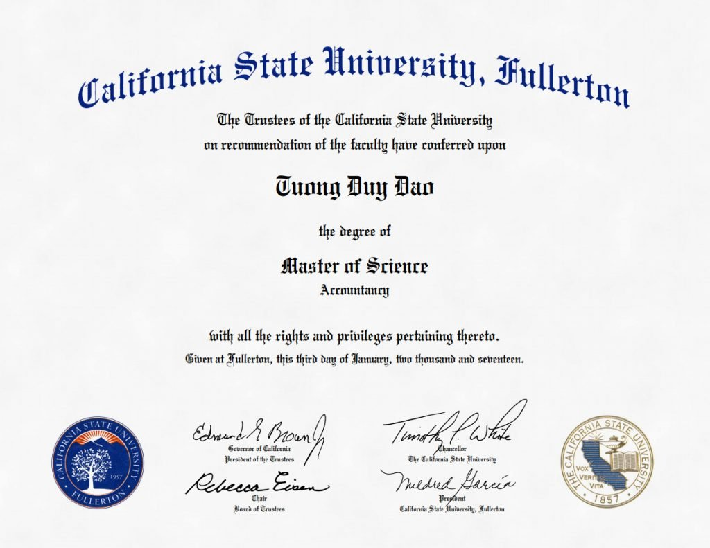 Master of Science in Accountancy at Mihaylo Mihaylo College of Business and Economics (California State University, Fullerton)